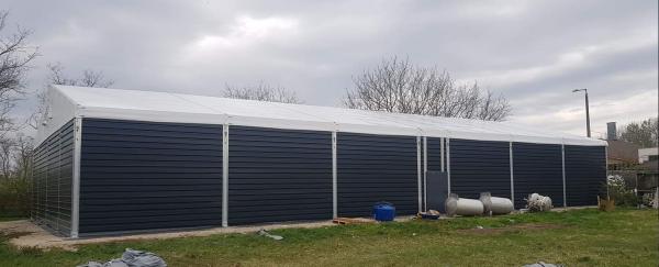 FeMax Zelthalle / Lagerzelt mit Trapezblechverkleidung 15x32m